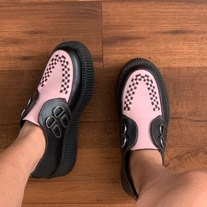 T.U.K. pink and black creepers